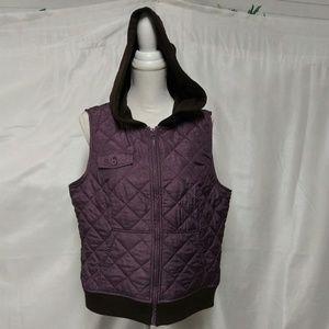 RH Ruff Hewn Purple Brown  Quilted Hoodie Vest